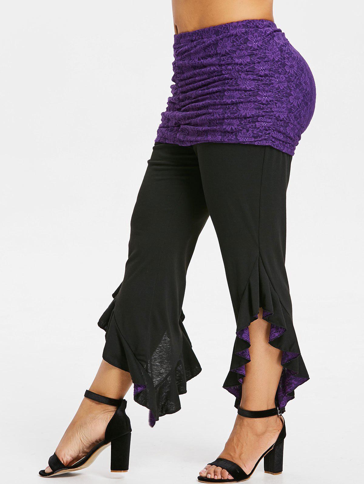 Asymmetric Plus Size Detachable Lace Skirt Leggings - PURPLE IRIS 4X