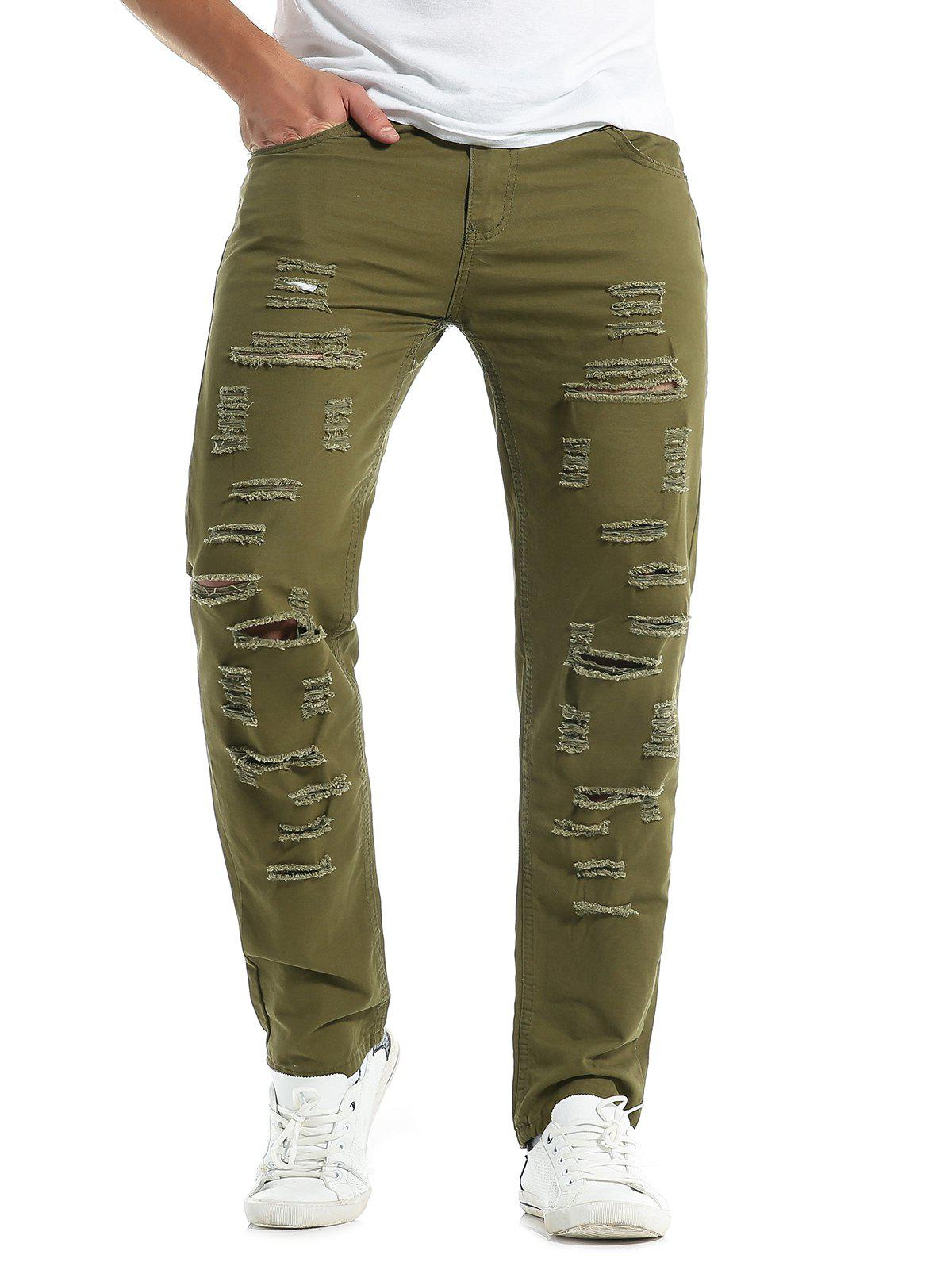 Solid Color Zipper Fly Destroyed Jeans - ARMY GREEN XL