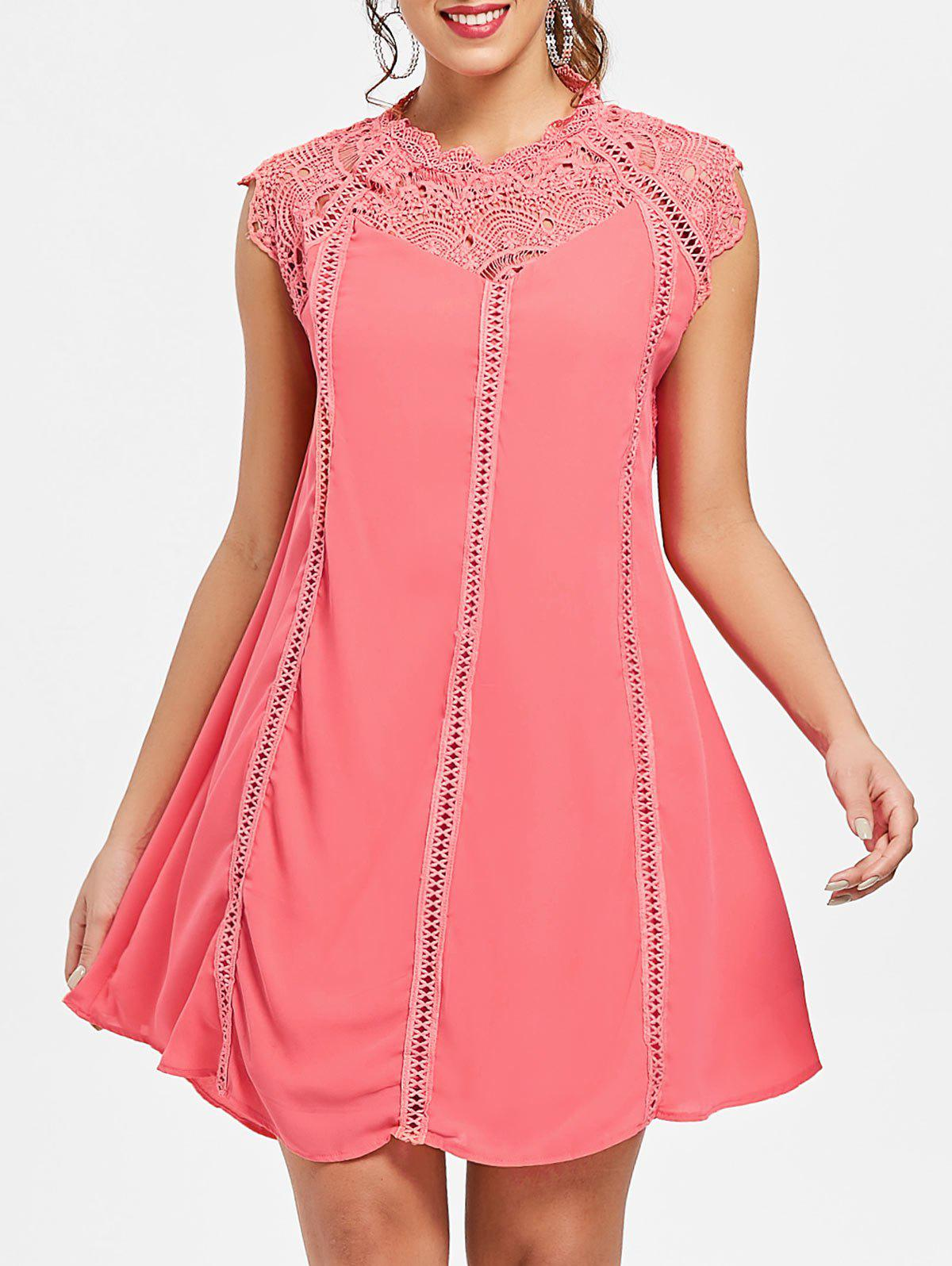 Lace Panel Mini Tent Dress - WATERMELON PINK M