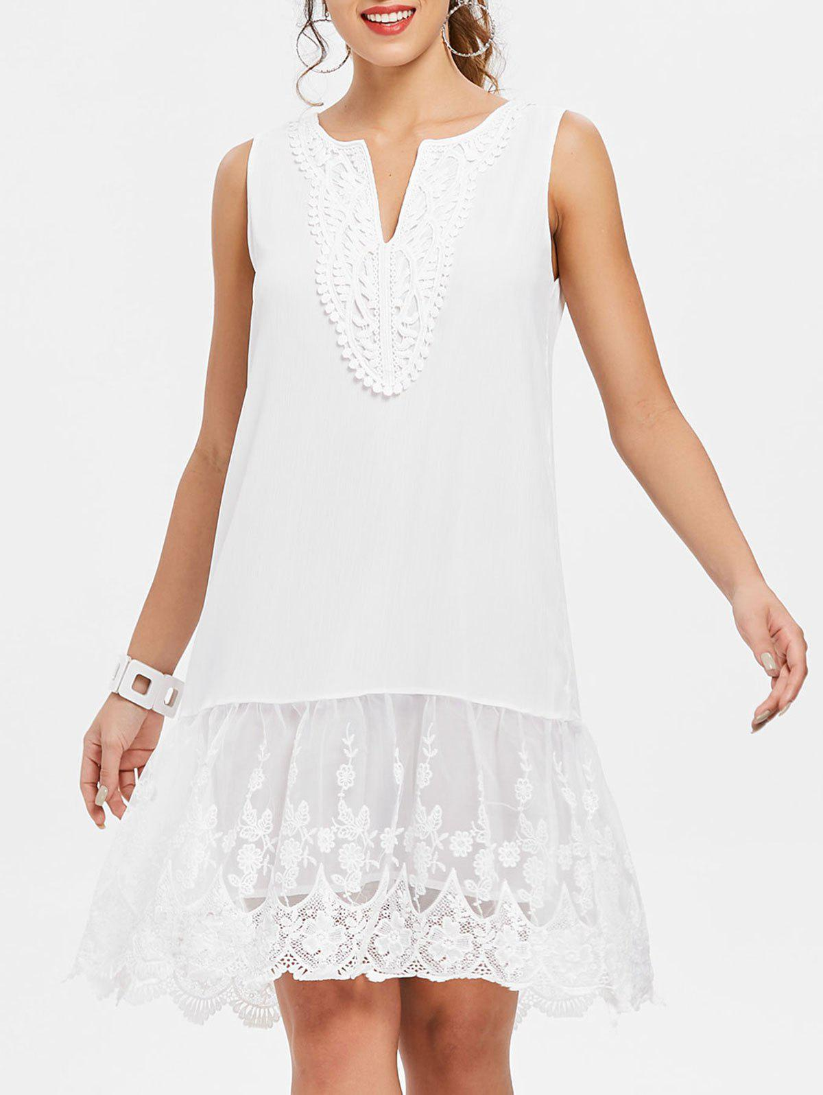 V Neck Embroidered Scalloped Trapeze Dress - WHITE XL