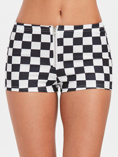 Zipper Fly Mini Checkered Shorts - WHITE L