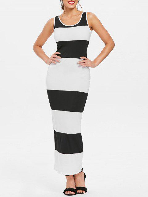 Stylish Scoop Neck Sleeveless Bodycon Striped Women's Dress - WHITE/BLACK XL