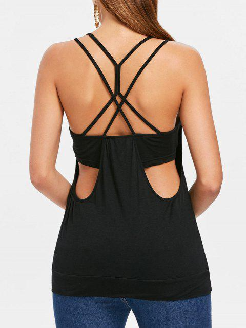 Strappy Backless Blouson Camis - BLACK XL