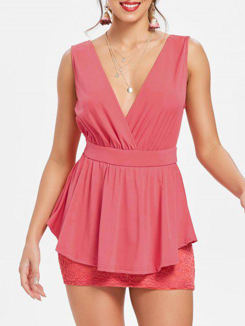 Crossover Lace Peplum Dress - pastèque rouge L