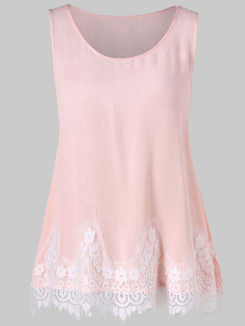 Lace Panel Cut Out Swing Tank Top - LIGHT PINK XL