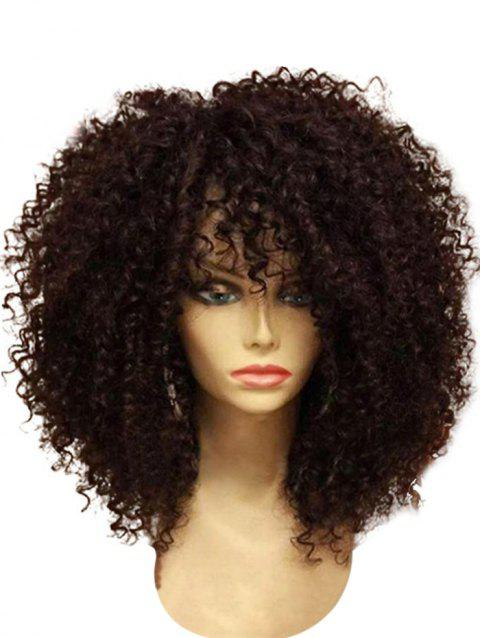 Medium Neat Bang Fluffy Afro Curly Synthetic Wig - COFFEE