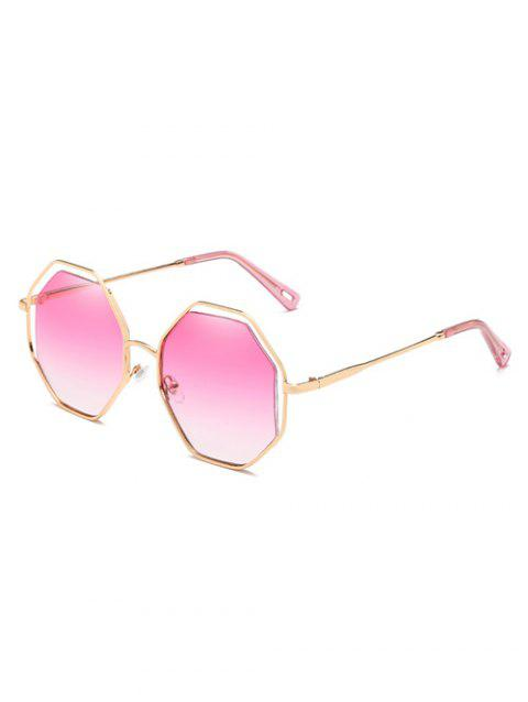 Anti UV Hollow Out Frame Rhomb Lens Sunglasses - HOT PINK