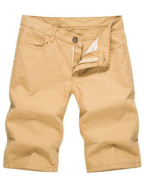 Solid Color Zip Fly Casual Shorts - LIGHT KHAKI L
