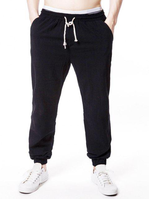Casual Drawstring Narrow Feet Jogger Pants - BLACK M