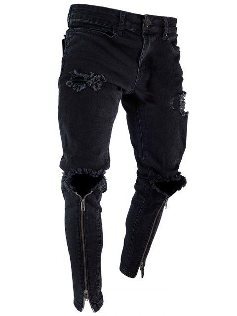 Destoryed Slim Fit Zippers Decorated Jeans - BLACK L