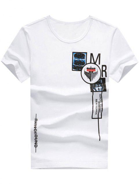 Letter Print Round Neck Graphic T-shirt - WHITE M