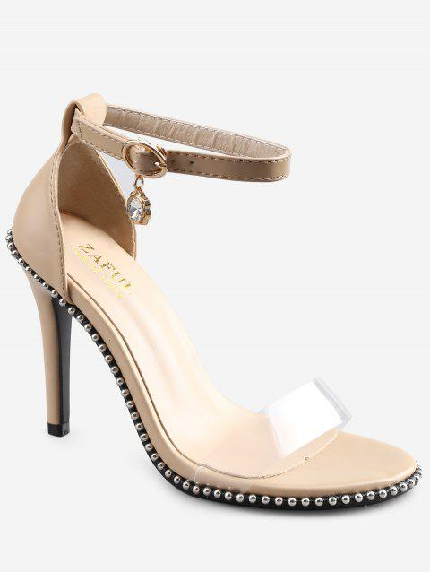 Stiletto Heel Chic Beading Transparent Strap Sandals - APRICOT 36