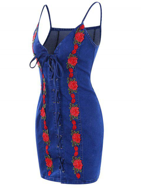 Lace Up Embroidered Denim Bodycon Dress - ROYAL BLUE L