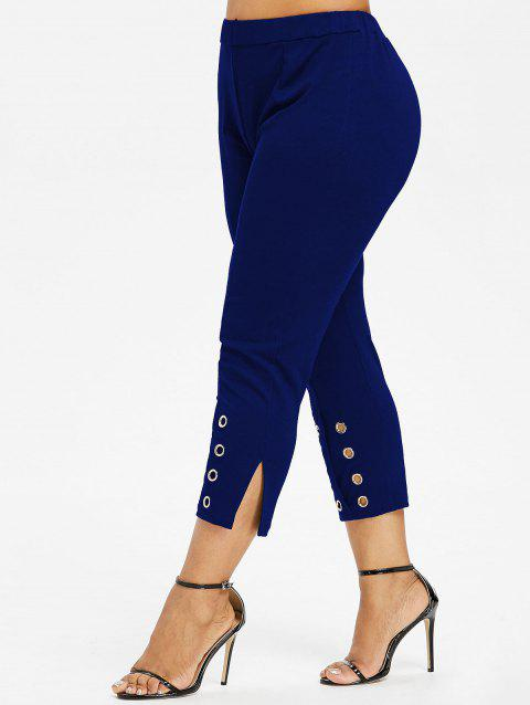 Plus Size Grommet Slit Pants - BLUE 3X