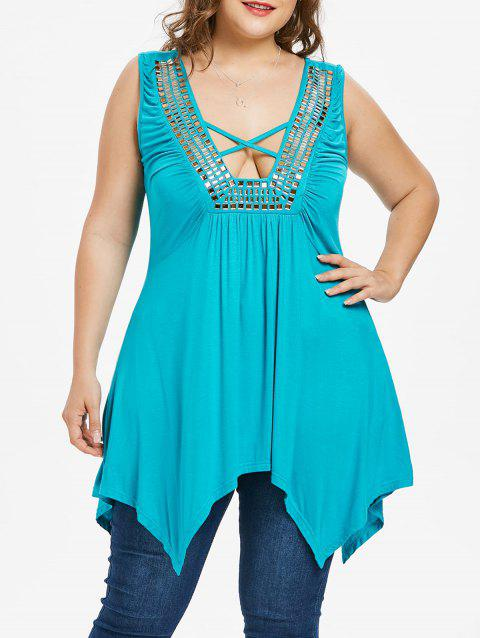 Plus Size Rhinestone Detail Handkerchief Tank Top - TURQUOISE 2X