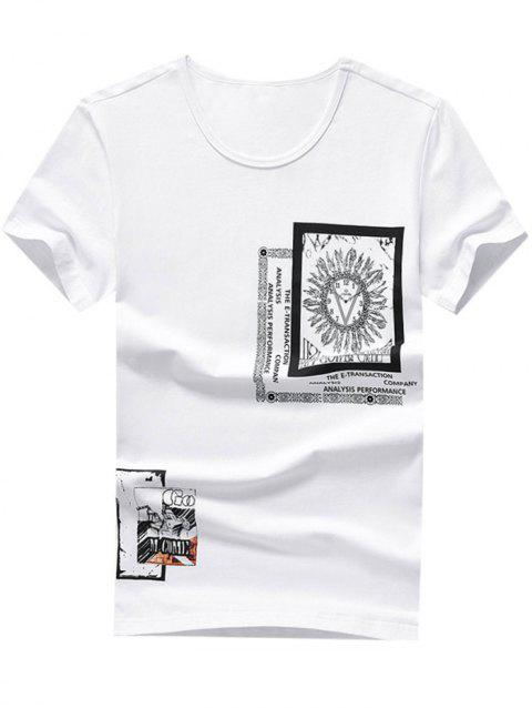 Clock Letter Print Casual T-shirt - WHITE L
