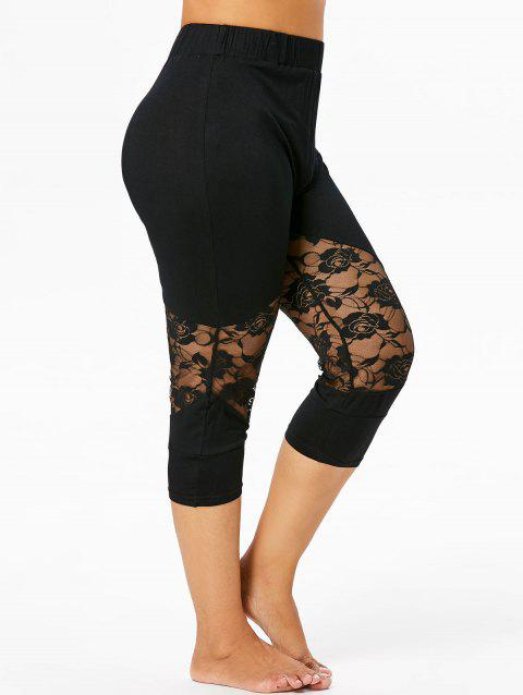 Plus Size Lace Panel Capri Leggings - BLACK 5X
