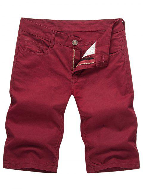 Solid Color Zip Fly Casual Shorts - RED WINE M