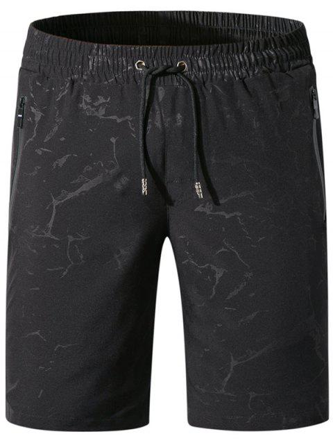 Printed Drawstring Board Shorts - BLACK L