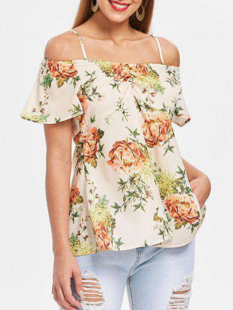 Cold Shoulder Floral Top - multicolor L