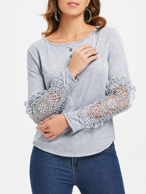 Casual Lace Splicing Scoop Neck Long Sleeve T-Shirt For Women - LIGHT GRAY L
