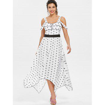 Stars Printed Cold Shoulder Casual Dress - WHITE L
