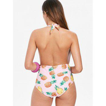 Pineapple Backless Swimsuit - LIGHT PINK L
