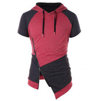 Sweat à Capuche Asymétrique en Blocs de Couleurs Embellish de Zip - Rouge de Pompier XL