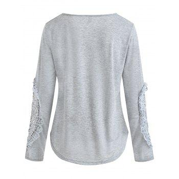 Casual Lace Splicing Scoop Neck Long Sleeve T-Shirt For Women - LIGHT GRAY XL