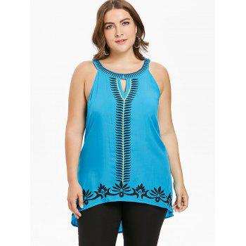 Plus Size Keyhole Neck Embroidery Tank Top - BLUE 5X