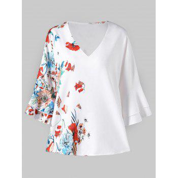 Flare Sleeve Floral Print Blouse - WHITE M