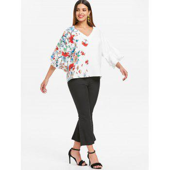 Flare Sleeve Floral Print Blouse - WHITE 2XL