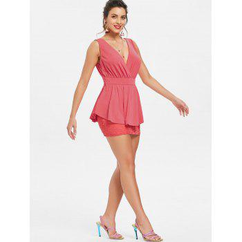 Crossover Lace Peplum Dress - WATERMELON RED M