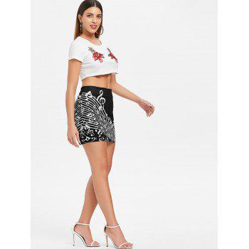 Music Note Mini Bodycon Skirt - BLACK M