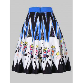 Drawing Printed Hit Color Skirt - multicolor M