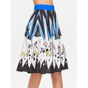 Drawing Printed Hit Color Skirt - multicolor L