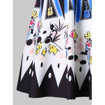 Drawing Printed Hit Color Skirt - multicolor XL