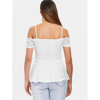 Cold Shoulder Strappy Lace Blouse - WHITE XL