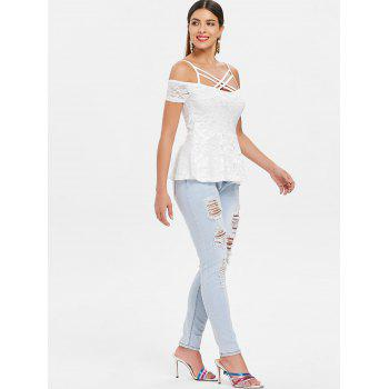 Cold Shoulder Strappy Lace Blouse - WHITE 2XL