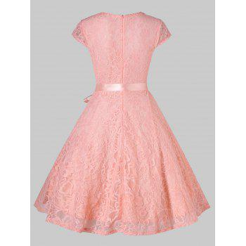 V Neck Lace Fit and Flare Dress - LIGHT PINK M