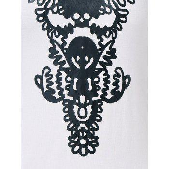 Abstract Printed Fitted Tank Top - WHITE 2XL