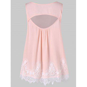 Lace Panel Cut Out Swing Tank Top - LIGHT PINK 2XL