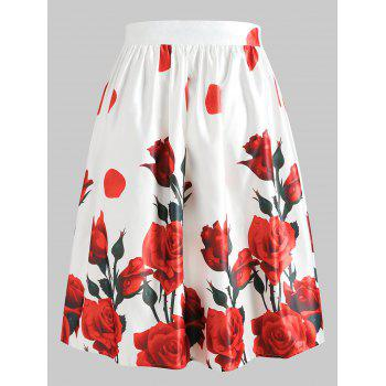 High Waist Rose Print Midi A Line Skirt - RED WINE XL