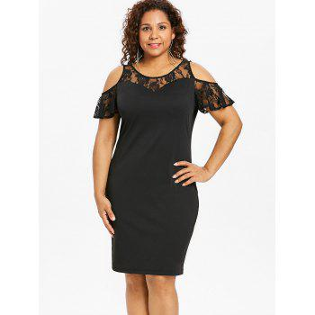 Plus Size Lace Knee Length Bodycon Dress - BLACK 5X