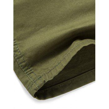 Solid Color Zip Fly Casual Shorts - ARMY GREEN M