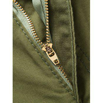 Solid Color Zip Fly Casual Shorts - LIGHT KHAKI 2XL