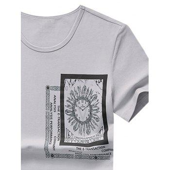 Clock Letter Print Casual T-shirt - GRAY M