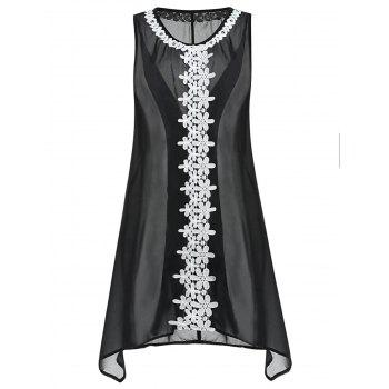 Plus Size Crochet Sheer Cover Up - BLACK 1X