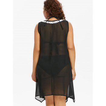 Plus Size Crochet Sheer Cover Up - BLACK 2X