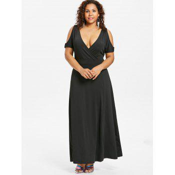 Plus Size Plunging Maxi Dress - BLACK 2X